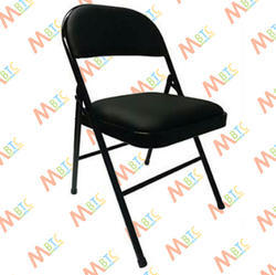 Black Mild Steel Single Seater Cushion Folding Chair