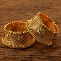 Festive Wear Girls Gold Plated Antique Openable Floral Bangles 200474