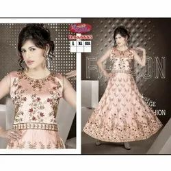 Multicolor Printed Pink Party Wear Dresses