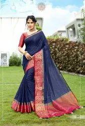 Blue Woven Ladies  Linen Cotton Saree 6.3 m (with blouse piece)