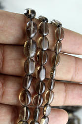 Smoky Quartz Oval Plain Gemstone Beads
