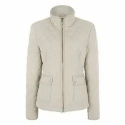 White Casual Wear Ladies Full Sleeve Cotton Jacket, Size: M-3XL