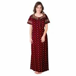 Free Size Fast Colour Guaranteed Ladies Cotton Over Locked Nighty(Superior)