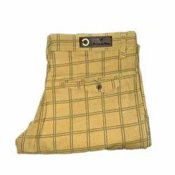 Casual Regular Fit Mens Beige Double Check Cotton Pant