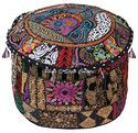 Home Decorative Embroidered Ottoman Pouf Cover Sari Ottoman