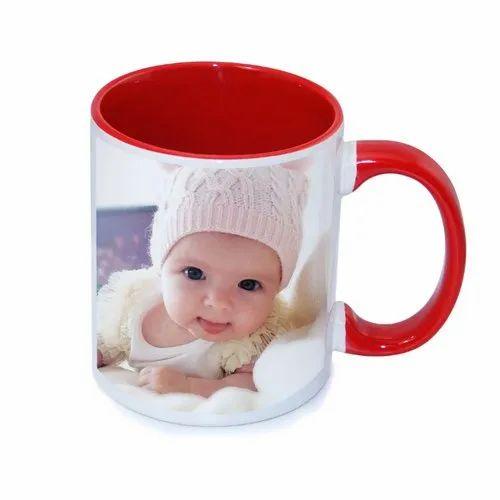 Red Ceramic Baby Image Printed Coffee Mug Three Tone