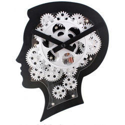 Black Brain Style Clock With Moving Gears Exclusive