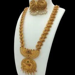 Golden Party Matt Finish Long Necklace, 1 Necklace, 1 Pair Jhumka