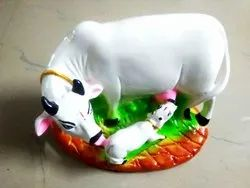 White Dust Marble Cow And Calf Set Size 6x9 Inch