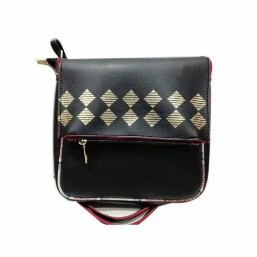 fb553a7989ce PU Leather Printed Ladies Black Designer Sling Bag