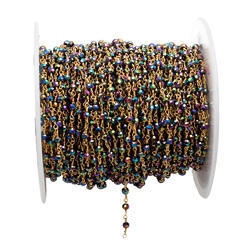 Peacock Pyrite Gemstone Beaded Chain
