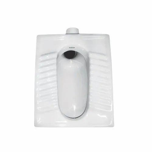 White Indian Orissa Pan Ceramic Toilet Seat, Dimension: 470x330x760 m