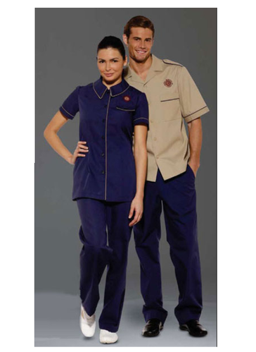 Cotton And Polyester Half Sleeves Housekeeping Uniform ...