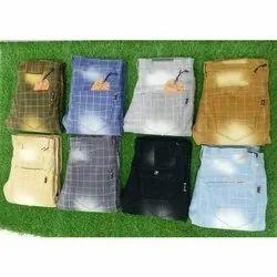 Mens Check Printed Cotton Pant, Machine Wash