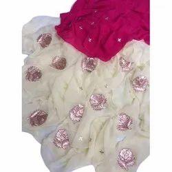 Party Wear Pure Chiffon Saree with Peta Work
