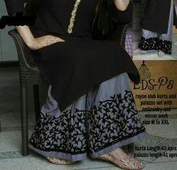 Ladies Black Rayon Kurti & Palazzo