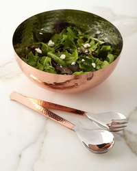 Copper Salad Bowl with Server
