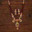 Copper Antique Matte Gold Plated Mala Necklace Set 200677