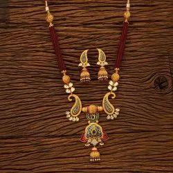 Antique Matte Gold Plated Mala Necklace Set 200677