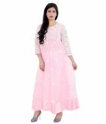 JMART Georgette Embroidered Designer Anarkali Suit, Size: Large