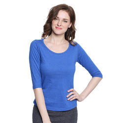 Women 100% Cotton Boat Neck Light Blue T-shirt