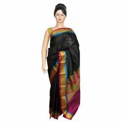 024dc2ccec Black Base Cotton Border Women Saree, With Blouse Piece, Rs 5000 ...