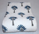 Hand Block Print Palm Tree Kantha Quilt