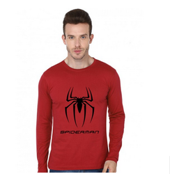 Spiderman Logo On Red Roundneck T-Shirt With Full Hands