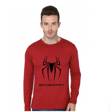 5636abf5b Printed Red Spiderman Logo On Roundneck T-shirt With Full Hands, Rs ...