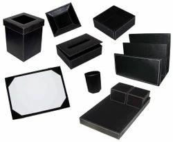 Classic Black Leather & PU Desk Set