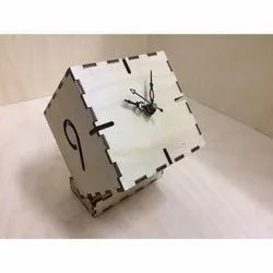 Brown Wooden Rotating Cube Table Clock, For Home