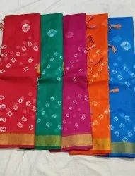 Fancy Style Full Bandhini Print Sarees With Golden Border