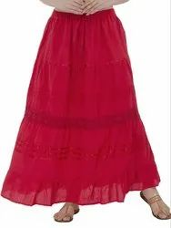 Skavij Cotton Red Casual Floral Maxi Skirt, Size: S to XXL