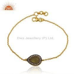 CZ Yellow Chalcedony Gemstone Gold Plated Silver Chain Bracelet