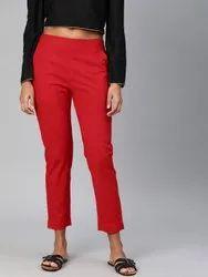 Red Cotton Regular Pants