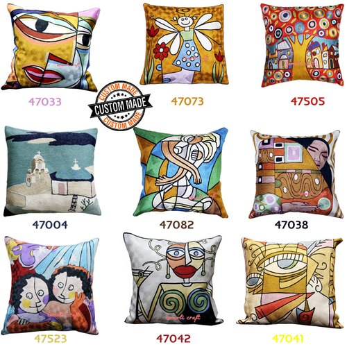 Custom Style Embroidery PIcasso Design Face Cushions Covers Decorative Pillow Case