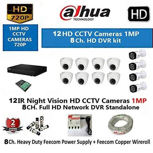 Dahua 16 Channel Hd- DVR With 720P Realtime Preview   8 Hd Ir 1Mp Dome Camera & 4-Bullet 1-MP