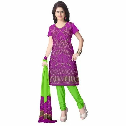 Magenta And Parrot Green Color Fancy Design Gaji Silk Dress Material