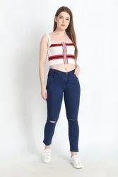 Regular mid rise ZXN Clothing women Premium Stretchable Slim Fit rugged Denim Jeans
