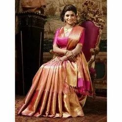 Pink and Golden Printed Art Silk Saree, 6.3 M (with Blouse Piece)