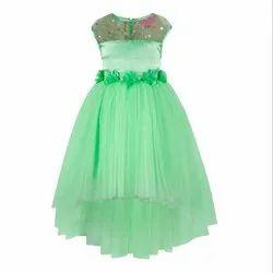Sea Green High-Low Kids Girls Party Wear Dresses
