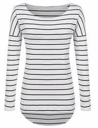 Black And White Round Neck Ladies Striped T Shirt