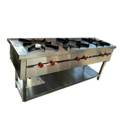 Stainless Steel 3 SS Three Burner Cooking Range, for Restaurant