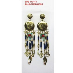 Gold and Blue LDE-110410 Designer Earrings, Size: 3 - 4 Inches