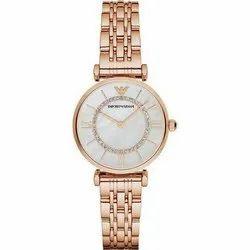 Round Golden Emporio Armani Ladies Wrist Watch