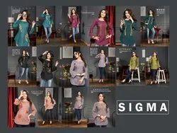 8 Color Short Top Ladies Designer Cotton Kurta From Sigma Catalogue, Size: M To Xxl