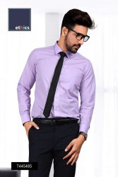 Purple Plain Formal Uniform Shirts for Office Staff T-445488