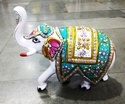 Multicolor Home Decorative Metal Meena Elephant With Stone Work