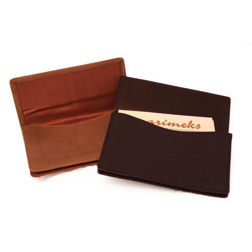 Brown & Maroon Leather Card Holder, For Promotional