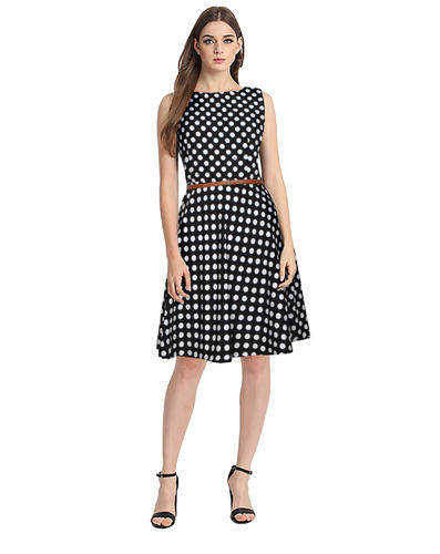 7a1f552cb0 Round Neck Printed Polka Dot Dress